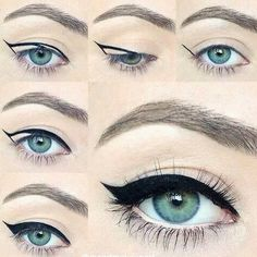 blue eyes, eye, eyebrows, eyeliner, girl, green eyes, how to, makeup, ariana grande eye-liner, delineado perfect - image #2802091 by saaabrina on Favim.com ✿