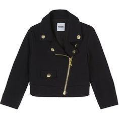 MOSCHINO Biker jacket 3-24 months (€205) ❤ liked on Polyvore featuring outerwear, jackets, black, moschino jacket, studded biker jacket, rider jacket, studded jacket and moto jacket