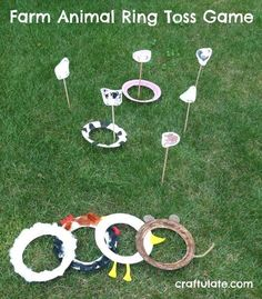 Farm Animal Ring Toss Game – a fun gross motor game Farm Theme Preschool Activities farm animals worksheets kindergarten farm animals for kids Farm Animals Games, Farm Animals Preschool, Farm Games, Farm Activities, Animal Activities, Animal Games, Summer Activities, Farm Party Games, Movement Activities