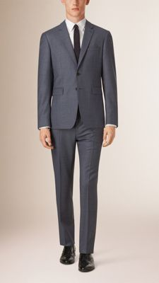 Burberry Slim Fit Travel Tailoring Wool Suit - The suit is part of the Travel Tailoring collection. Invented by Burberry, the suit combines new, modern canvassing and natural memory fabrics designed to flex with the movement of the body. Discover men's tailoring at Burberry.com