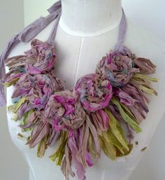 Lovely and soft. Recycled Sari Silk  Rosette Necklace by plumfish.