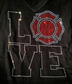 Firefighter support Rhineston mom wife Bling spirit TShirt on Etsy, $25.00