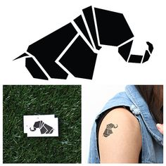 Geometric Elephant   Temporary Tattoo Set of 2 by Tattify on Etsy, $5.00