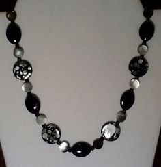 Handmade Beaded Necklace with Jet Shell by KimsSimpleTreasures, $20.00
