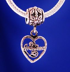 Grandma Nana Dangle Heart Love European Charm Bead by rbargains, $9.95
