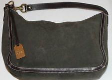 RALPH LAUREN Dark Green Suede Leather Hobo Shoulder Bag Handbag