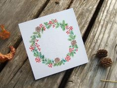 Handmade Christmas card - hand-painted illustration card, original watercolor painting, Material: watercolor paper (260g) Size: 9 x 9 cm -Christmas circle, plant circle, not only a giftcard, also a small painting can be framed art or decoration on desk or wall.  Facebook: https://www.facebook.com/ringo.handpainter/