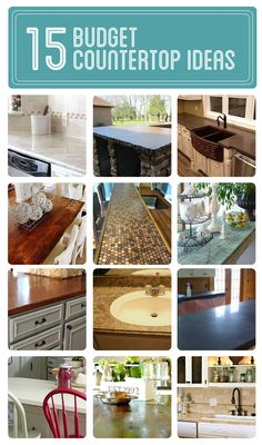 15 budget countertop ideas--> http://www.hometalk.com/b/585946/budget-countertops   Curated by @At The Picket Fence featuring @Decorchick @Southern Hospitality Rhoda @Shannon Fox {fox hollow cottage} @Lisa Pennington @Randi at Dukes and Duchesses @Thistlewood Farm