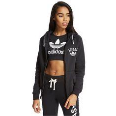 adidas Originals Super Fleece Zip Hoody (€71) ❤ liked on Polyvore featuring tops, hoodies, black zip hoodie, hooded sweatshirt, hooded pullover, fleece hoodie and adidas originals hoodie