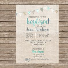 Burlap Boy Baptism Invitation or any event por TheAvocadoSeed