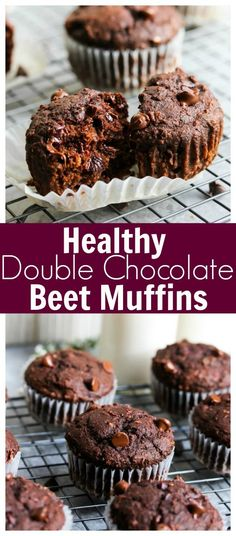 ad: Healthy Double Chocolate Beet Muffins (whole grain, kid-friendly) | dishingouthealth.com