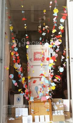 Paper garland window display