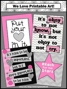 Classroom Posters for Kids: You will receive 4 printable posters for students. They match a pink and gray classroom decor and have motivational quotes.