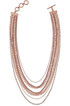 Stella & Dot   Metal & Rose Gold Multi Chain Necklace   Ginger Layering Necklace