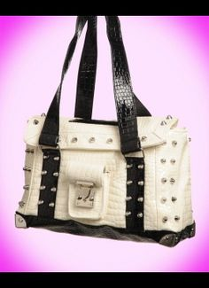 Mini Weekender in White and Black Faux Croc from Lux de Ville