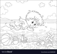 Boy swimming in water on a beach vector image on VectorStock Disney Coloring Pages, Adult Coloring, Coloring Books, A Cartoon, Cartoon Styles, Little Swimmers, Summer Days, Diy For Kids, Adobe Illustrator