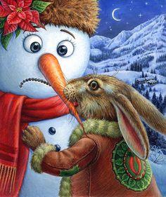 bunny biting snowman's nose