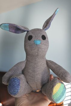 Lovely blog from a Mum who makes and sells upcycled toys lily & gus bunny from upcycled clothing
