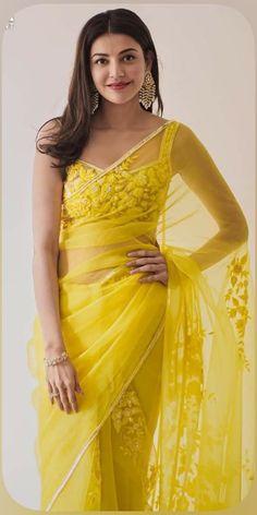 Indian Wedding Outfits, Bridal Outfits, Indian Outfits, Yellow Saree, Yellow Dress, White Dress, Kurta Patterns, Trendy Sarees, Organza Saree