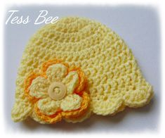 Baby Flower Hat, Baby Girl Hat, Flower Beanie, Photo Prop, Baby Girl Gift, Baby Shower Gift, Large Flower Hat, Pretty Baby Hat Baby Girl Hats, Girl With Hat, Hat Flower, Spring Hats, Cute Hats, Button Flowers, Crochet Baby Hats, Craft Shop, Pretty Baby