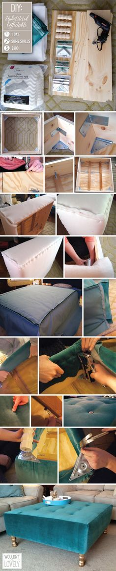 DIY upholstered ottoman, How to build your own coffee table, DIY tufting, velvet ottoman, DIY home decor, DIY furniture, Wouldn't it be Lovely