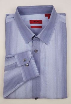 43fb5adc077 HUGO Boss 2XL Shirt SLIM Fit ELISHA Cotton MENS Size XXL Blue STRIPED  Multicolor. Hugo Boss