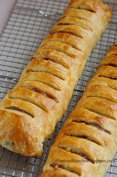 Apple Strudel with puff pastry.  Made this and it was wonderful.  Used the recipe for just one...so if making two, I would suggest doubling the filling.  Drizzled a glaze consisting of a mix of icing sugar, butter and lemon juice on the top.