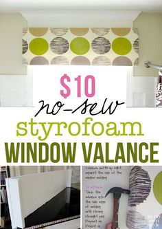 Make a custom window valance for $10 using sheets of foam insulation you buy at the home improvement store.   Step-by-step photo tutorial. In My Own Style