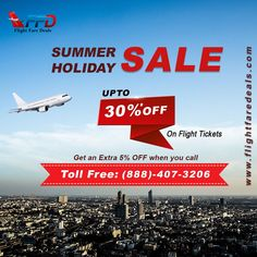 Summer Flight Sale! Get the best deal on One way & Round Trip Flight Booking. Exclusive Deals Available on Group ✈️Bookings. Save upto 30% on flights today. Find deals here👉 ☎️Call Toll Free (888)-407-3206 ✅Summer Flight Sale! ✅Domestic & International Flights ✅Excellent Customer Care