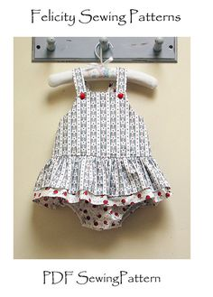 Tinkerbelle Romper pdf sewing pattern for baby girls by Felicity Sewing Patterns, sizes to fit 3 months to 3 years, girl's dress patterns