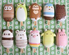 Creamiicandy Squishies animal popsicles Make it real design Cute Polymer Clay, Cute Clay, Magnum Paleta, Cute Squishies, Cute Baking, Cute Avocado, Cake Topper Tutorial, Cute Desserts, Aesthetic Food