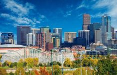 Photo about Sunny Day in Denver Colorado, United States. Downtown Denver City Skyline and the Blue Sky. Image of capital, park, american - 48913281 Denver Colorado, Colorado Trip, Colorado Springs, Denver Skyline, Denver City, Denver Area, San Antonio, Bachelor Party Destinations, Nashville