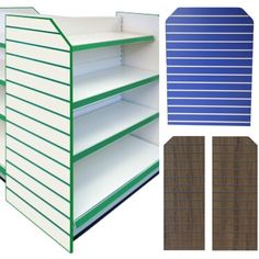 Gondola metal shelving with slatwallpanels fitted to the end of the shelving unit. Choose from either silver shelving or cream shelving then add a slatwallpanel in the colour of your choice to the end to maximise every inch of retail display space.  #slatwall #shelving #gondolashelving #shelfendunit