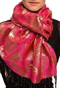 b10a92facfcfd Gold Lotus Flower Print On Magenta Pashmina Feel With Tassels Scarf **  Click for more Special Deals #HijabFashion