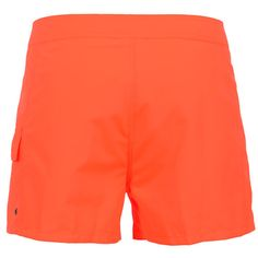 FLUO ORANGE MID-LENGHT SWIM SHORTS WITH EMBROIDERY WRITING Fluo orange nylon mid-length Boardshorts with side pocket and Velcro closure. Side Sundek embroidery on the right leg. Internal net. Fixed waistband with adjustable drawstring and Velcro closure. COMPOSITION: 100% NYLON. Model wears size 32 he is 189 cm tall and weighs 86 Kg.