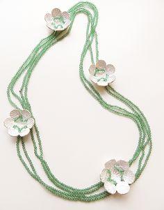 Ariane Hartmann Necklace: Im Wort – Pusteblume, 2012 Green agate, Ag 935, red silke thread 100 cm