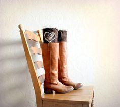 Heart Applique Women's Leg Warmers Brown Knit Pink Angora Upcycled Boot Cuffs Lace Ruffle Shabby Boot Cuffs Bohemian Boot Socks 'KIANA' on Etsy, $30.90
