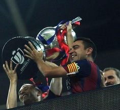 Iniesta and Xavi lift Copa del Rey. Barca are Spanish League and Cup champions for 2015-2016.  30 May 2015