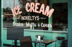 Ice Cream shop window, signage on shop window, window decals, branding, typography Ice Cream Pops, Ice Cream Parlor, Window Signage, I Scream, Packaging, Soda Fountain, Vintage Theme, Old Building, Window Decals
