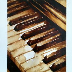 Watercolor piano keys