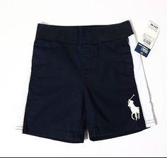 RALPH LAUREN Kids Big Pony Pull-On Varsity Shorts, Boy's Shorts, Size 12M, Navy