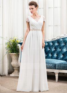 A-formet/Prinsesse V-hals Gulvlengde Chiffong Brudekjole med Frynse Blonder Perlebesydd Paljetter (002056236) - JJsHouse