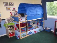 So i have decided how i want to do the sleeping arrangements for the boys when Bradley gets out of the crib. I think this will be perfect. -- Kura loft bed from Ikea