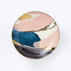 Abstract Brushstroke Salad Plate in Pink/Gold.