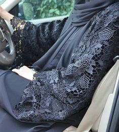 Fancy Lace Embroidered Abaya Designs Latest Collection consists of stylish & trendy abayas in casual, formal, fishtail styles, front open gowns, Hijab Fashion 2016, Abaya Fashion, Modest Fashion, Fashion Outfits, Womens Fashion, Islamic Fashion, Muslim Fashion, Abaya Chic, Abaya Designs Latest
