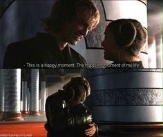 I'm glad Anakin was happy Padmé was pregnant. This shows that he loved Padmé and his family for them the Jedi life