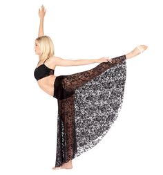 Long lace skirt in black with flower pattern from Natalie.