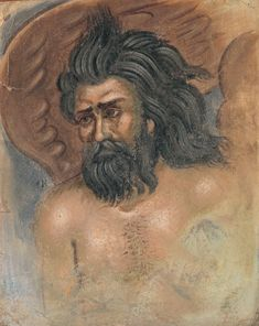 """ΦΩΤΗΣ ΚΟΝΤΟΓΛΟΥ:""""Βορρέας"""" """"Η παρούσα ζωγραφία εφιλοτεχνήθη όπως εν σχήμασι γραπτοίς διαμένη πρό τών ομμάτων εις αιώνα ο κύκλος τής ελληνικής φυλής, από τών πρώτων αυτής προπατόρων μέχρι τών καθ' ημάς…Εζωγραφήθη δέ μετά πόθου καί φιλοτιμίας πολλής φαντασία καί χειρί Φωτίου Κόντογλου τού εκ Κυδωνιών τής Μικράς Ασίας"""" Παρεκκλήσιο οικογένειας Πεσμαζόγλου στην Κηφισιά. History, Portrait, Byzantine, Historia, Headshot Photography, Portrait Paintings, Drawings, Portraits"""