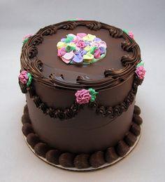 6 Inch Chocolate Rosebud Faux Cake