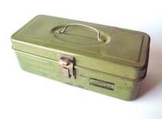 Vintage Olive Green Union Utility Box by PoorLittleRobin, $18.00